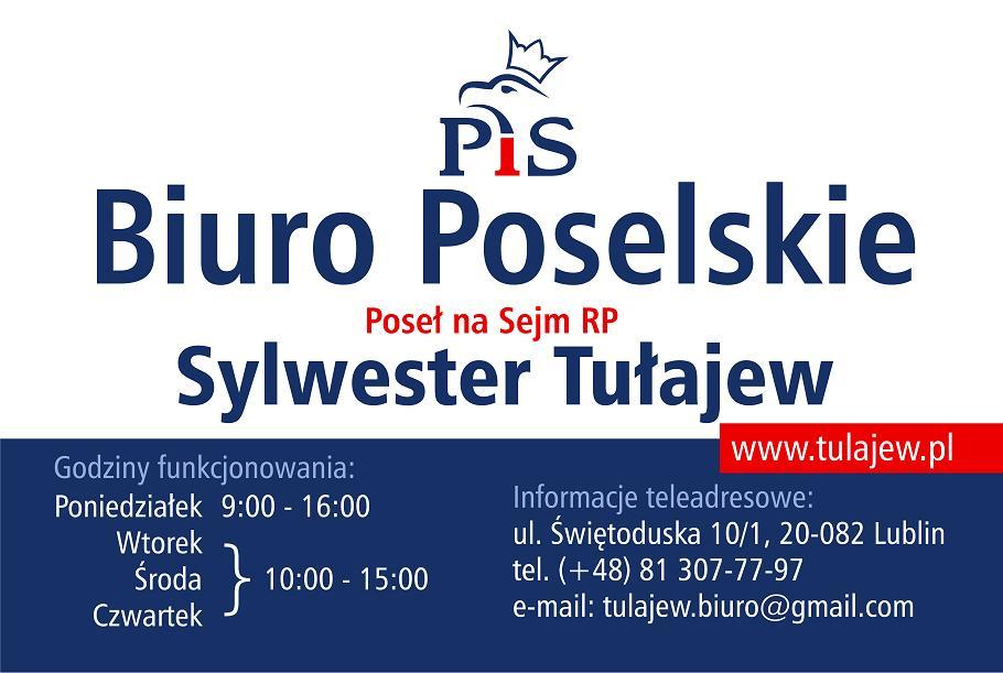 Biuro Poselskie Sylwestra Tułajewa; Prawo i Sprawiedliwość.